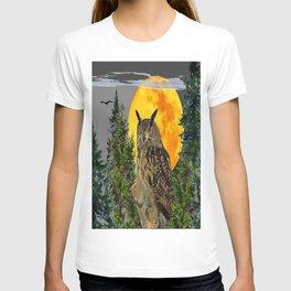 OWL WITH FULL MOON & PINE TREES GREY ART T-shirt