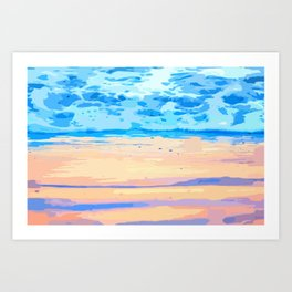 Sunset On The Shore #painting #nature Art Print