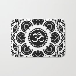 Black and White Mandala | Flower Mandhala Bath Mat
