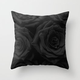 Coal Roses Throw Pillow