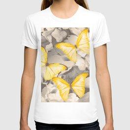 Yellow Butterflies on Dark Floral Background #decor #society6 #buyart T-shirt