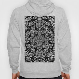 Nordic Style Fallen Leaves Black and White Kaleidoscope Hoody