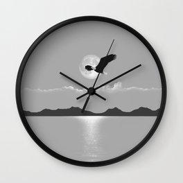 Perfect LIght Silver Moon Eagle Wall Clock