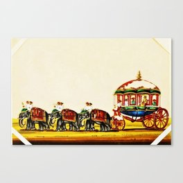 Classical Masterpiece 1820 'Maharaja Elephant-drawn Carriage, Bombay, Indian - Artist Unknown Canvas Print