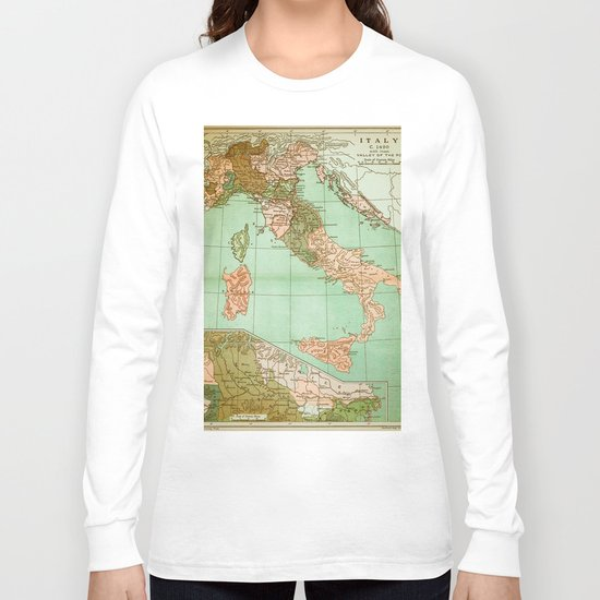 Italy in 1490 - Vintage Map Series Long Sleeve T-shirt