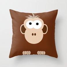 Minimal Monkey Throw Pillow