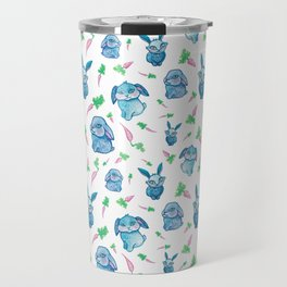 Blue Bunny Pattern Travel Mug