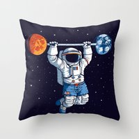 gym Throw Pillows featuring Space Gym  by Tobe Fonseca