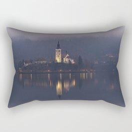Misty Lake Bled At Night Rectangular Pillow