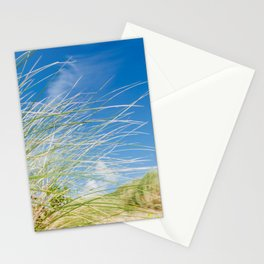 Vibrant Sand dune grasses against blue sky, Fistral Beach Stationery Cards