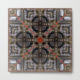 no. 166 black white red gold pattern Metal Print