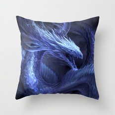 Blue Crystal Dragon Throw Pillow