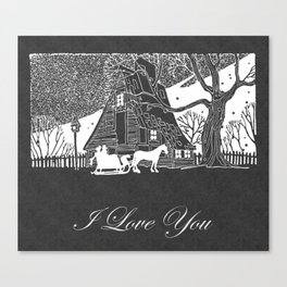 I Love You Romantic Snow Scene Chalkboard Canvas Print