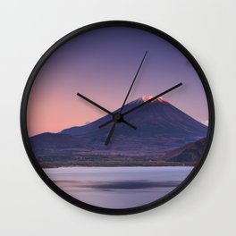 II - Last light on Mount Fuji and Lake Motosu, Japan Wall Clock