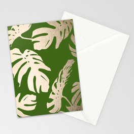 Palm Leaves White Gold Sands on Jungle Green Stationery Cards