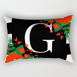 G - Monogram Black and White with Red Flowers Rectangular Pillow