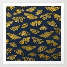 Golden Moths in Navy Art Print