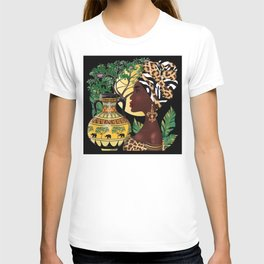 African woman,vase ,fashion art ,black background ,beautiful earrings. T-shirt