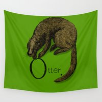 otter Wall Tapestries featuring Otter by zuzia turek