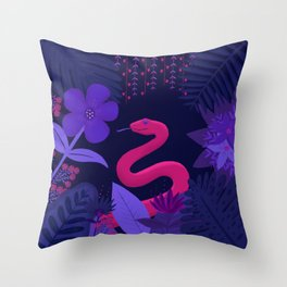 Snake in the Jungle Throw Pillow
