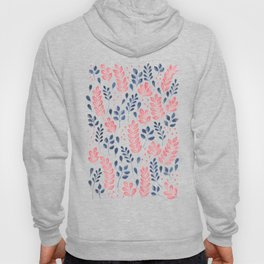 Wistful Floral - Coral and blue Hoody
