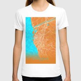 Livorno, Italy, Gold, Blue, City, Map T-shirt