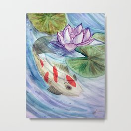 Coy and Waterlily Metal Print