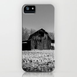 Days Gone By - Old Arkansas Barn in Black and White iPhone Case