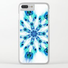 Blue Fire Snowflake Clear iPhone Case