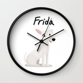 "Cute Custom Dog Art ""Frida"" Wall Clock"