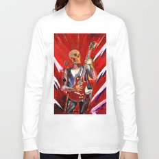 Fantasy art heavy metal skull guitarist Long Sleeve T-shirt