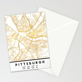 PITTSBURGH PENNSYLVANIA CITY STREET MAP ART Stationery Cards