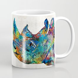 Rhino Rhinoceros Art - Looking Up - By Sharon Cummings Coffee Mug