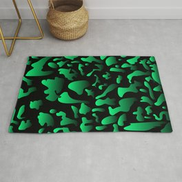 Ink green on black from spots and splashes of paints. Rug