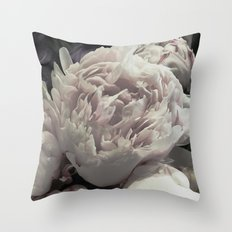 Peonies pale pink and white floral bunch Throw Pillow