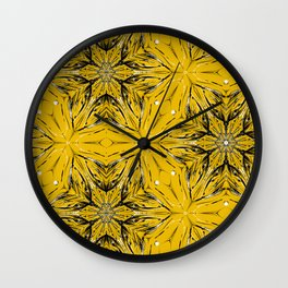 Black and yellow star ornament Wall Clock