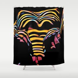 1276s-MAK Intimate Nude Abstraction Striped Torso With Hands On Thighs Shower Curtain