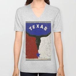 Texas State Flag Longhorn Antique Style Pattern Art Unisex V-Neck