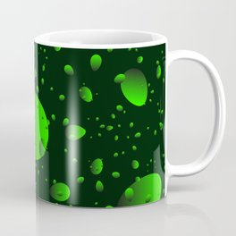 Large green drops and petals on a dark background in nacre. Coffee Mug
