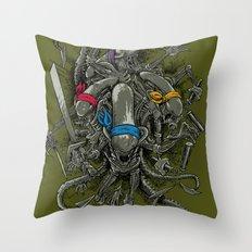 Ancient Ninja Xenomorphs Throw Pillow