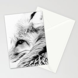 red fox digital acryl painting acrbw Stationery Cards