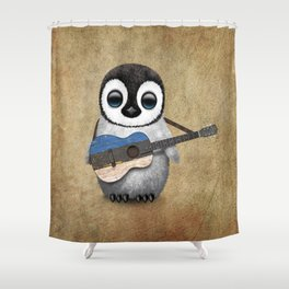 Baby Penguin Playing Estonian Flag Acoustic Guitar Shower Curtain