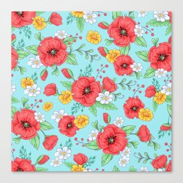 Hand illustration red poppies and daisies pattern Canvas Print