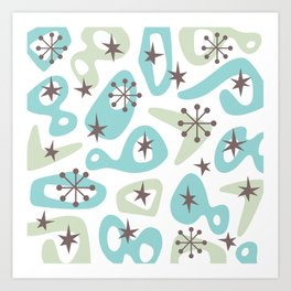 Retro Mid Century Modern Spaced Out Composition 332 Art Print