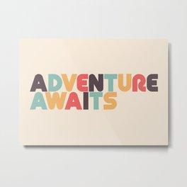 Retro Adventure Awaits Typography Metal Print