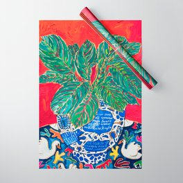 Prayer Plant in Blue-and-White Pot on Swan Table Cloth After Matisse Painting Wrapping Paper