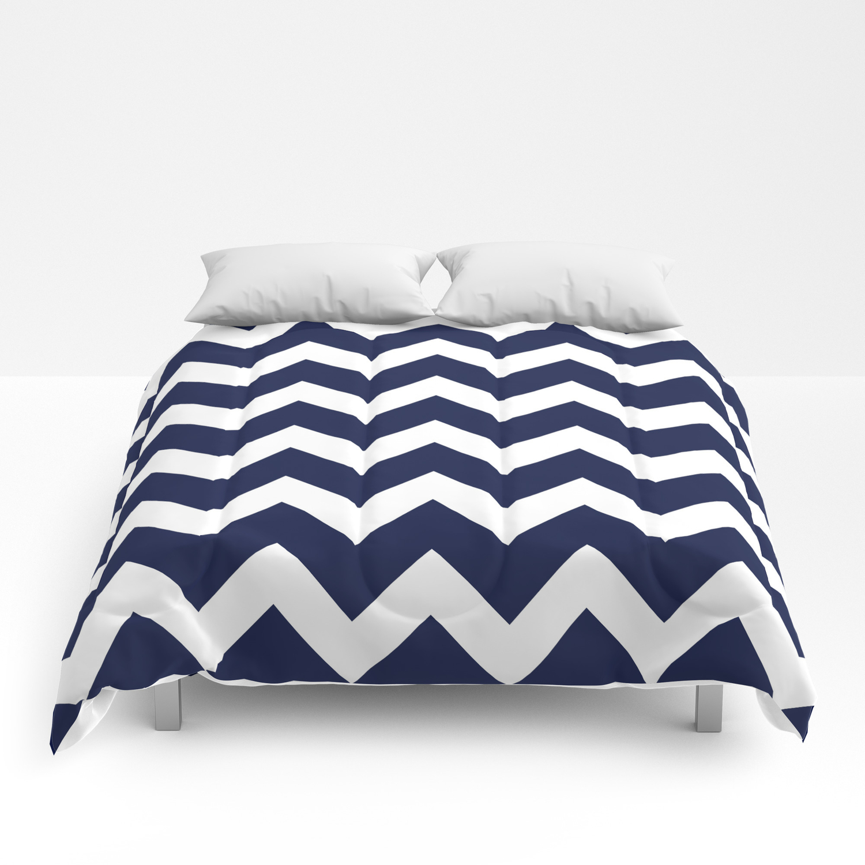 Navy Blue Chevron Minimal Comforters By