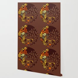 Afro Diva : Sophisticated Lady Retro Brown Wallpaper