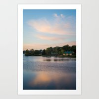 cabin Art Prints featuring Cabin by Jessica Pei