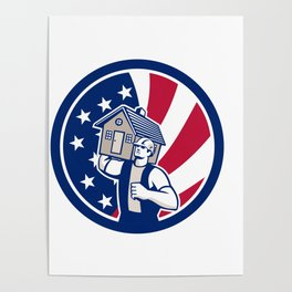 American House Removal USA Flag Icon Poster